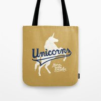 unicorns Tote Bags featuring Unicorns by WEAREYAWN