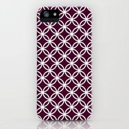 Burgundy red and white interlocking circles iPhone Case