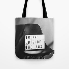 Think Outside the Box (Black and White) Tote Bag