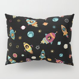 Space Ship Animals Seamless Pattern Pillow Sham