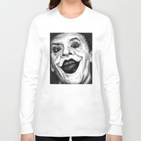 jack nicholson Long Sleeve T-shirts featuring Jack Nicholson Joker Stippling Portrait by Joanna Albright