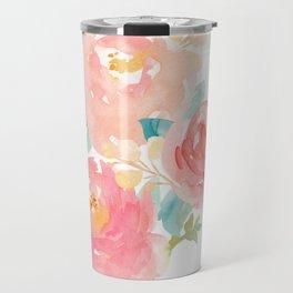 Watercolor Peonies Summer Bouquet Travel Mug