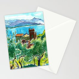 View of the sea and Monastery of Santa Croce, Liguria Stationery Cards