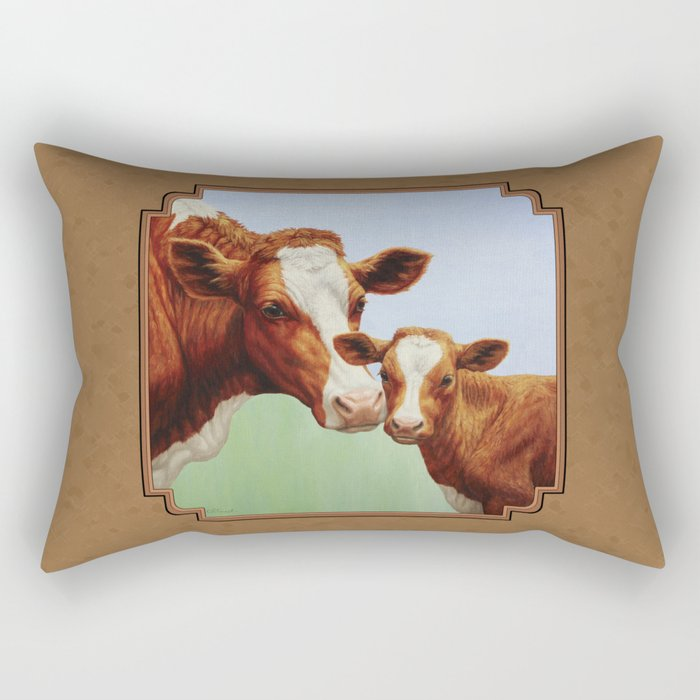 Guernsey Cow and Cute Calf Rectangular Pillow