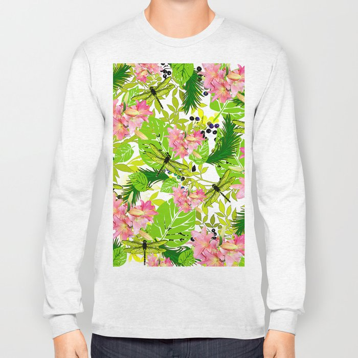 PALM AND LILY PINK AND GREEN Long Sleeve T-shirt