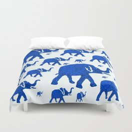 ELEPHANT BLUE MARCH Duvet Cover