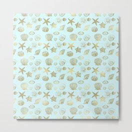 Blue Mint Gold Sea Shells Metal Print