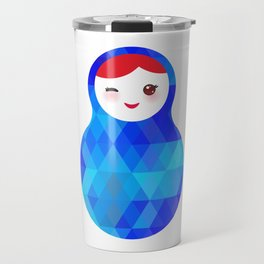 wink Russian doll matryoshka with bright rhombus on white background, blue colors Travel Mug