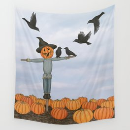 scarecrow and crows in the pumpkin patch Wall Tapestry