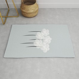 Abstract Sheer White Anemones Rug