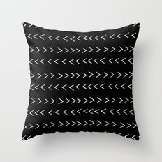 mudcloth 14 minimal textured black and white pattern home decor minimalist beach Throw Pillow
