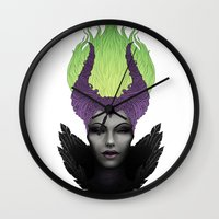 maleficent Wall Clocks featuring Maleficent by clayscence