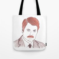ron swanson Tote Bags featuring Ron Swanson  by nicoleskine