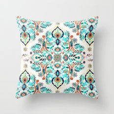 Modern Folk in Jewel Colors Throw Pillow