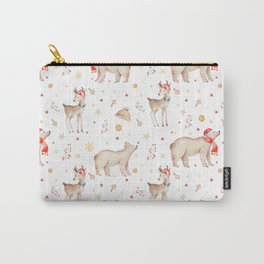 Christmas brown white winter forest animals floral Carry-All Pouch