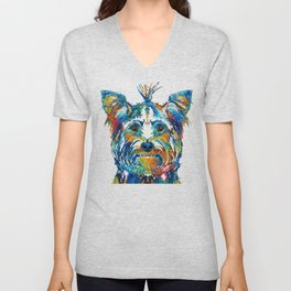 Colorful Yorkie Dog Art - Yorkshire Terrier - By Sharon Cummings Unisex V-Neck