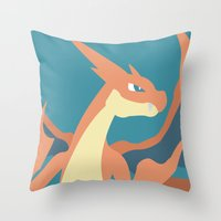 charizard Throw Pillows featuring Mega Charizard Y by Katherine Macdonald