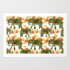 Wading Elephants Art Print