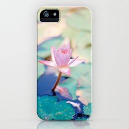 Cute Pink Blooming Lotus iPhone Case