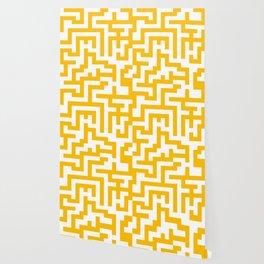 White and Amber Orange Labyrinth Wallpaper