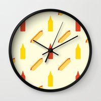 hot dog Wall Clocks featuring Hot dog by Will Wild