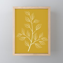 White Branch and Leaves on Mustard Yellow Framed Mini Art Print