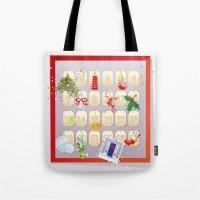 calendar Tote Bags featuring  Advent Calendar by rusanovska