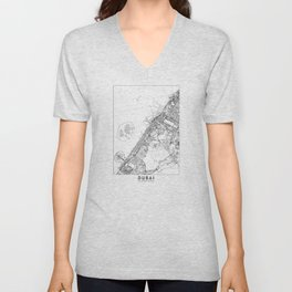 Dubai White Map Unisex V-Neck