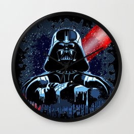 Darth Vader Mask on Dark Paint Stains Wall Clock
