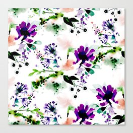 Abstract watercolor flowers purple Canvas Print