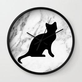Marble black cat Wall Clock