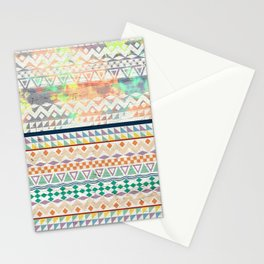 Blue Orange Andes Abstract Aztec Pattern Fashion watercolors Stationery Cards