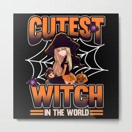 Funny Anime Halloween Girl Witch Saying Gift Metal Print
