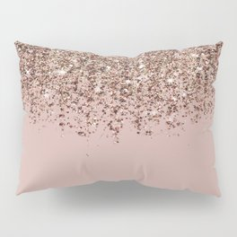 Blush Pink Rose Gold Bronze Cascading Glitter Pillow Sham