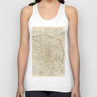 paris map Tank Tops featuring PARIS by Le petit Archiviste