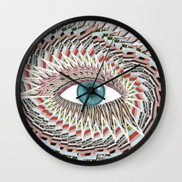 Origami Chakra Eye - Aqua Marine Blue Wall Clock