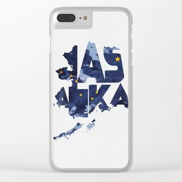 Alaska Typographic Flag Map Clear iPhone Case