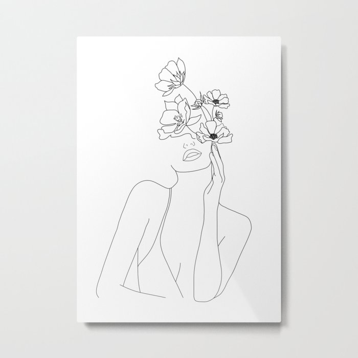 Minimal Line Art Woman with Flowers Metal Print