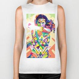 wonderwoman Pop art Biker Tank