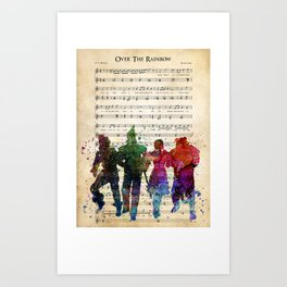 Over the Rain-bow Art Print, Wiz-ard of Oz Wate-rcolor Sheet Music Art Print Dorothy Scarecrow Tin Woodman Gift, Movie Art Valentines Day Art Print