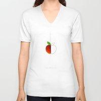 half life V-neck T-shirts featuring HALF (apple) LIFE by Nillustra™