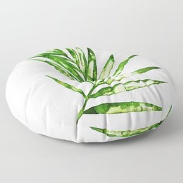 Green ink painting - fern Floor Pillow