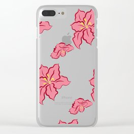 Poinsettia pattern - pink Clear iPhone Case