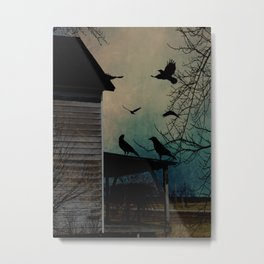 Rustic Black Birds Crows on Abandoned House Porch Teal Art A605 Metal Print