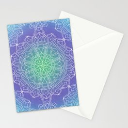 White Lace Mandala in Blue, Green and Purple Stationery Cards