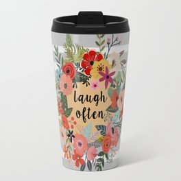 Laugh Often Floral Travel Mug
