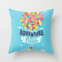 risa rodil Throw Pillows featuring Adventure is out there by Risa Rodil