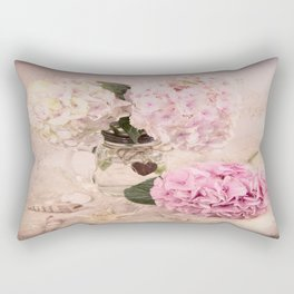 Pink Hydrangeas With Sea Shells Rectangular Pillow
