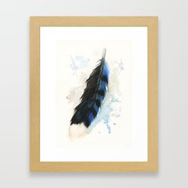 Watercolor Blue Jay Feather Framed Art Print