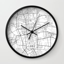 Lodz Map, Poland - Black and White  Wall Clock
